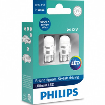 LED žárovka PHILIPS 12V W2,1x9,5d ULTINON 6000K - 2 ks