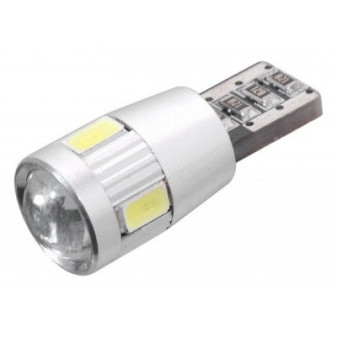 LED žárovka COMPASS 6x SMD LED 12V T10 s rezistorem CAN-BUS ready celosklo (1 ks) - čirá